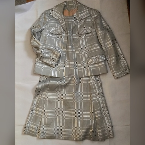 Vintage 60s metallic plaid shift dress jacket set